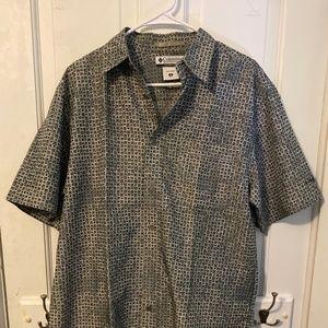 Columbia Green Snake Pattern Button Up Shirt - M